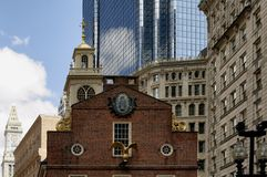 Old State House. Boston, Massachusetts USA - 2013 - Historic Boston Old State House surrounded by the more modern buildings of the financial district Stock Photography