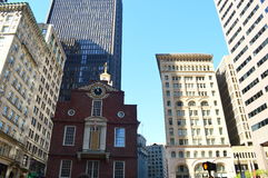 Old State House and Boston Skyline. This photo was taken in Boston. The Old State House is a historic building in Boston, Massachusetts, at the intersection of royalty free stock images
