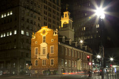 Old state house at city  Boston night Stock Images