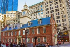 Old State House and Financial district at Downtown Boston. Boston, USA - April 29, 2015: Old State House and Financial district at downtown Boston, Massachusetts Stock Image
