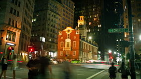 Old State House at night in Boston, USA stock video
