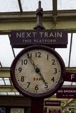 Old Station Clock On Platform Of Keighley Station, Worth Valley Railway. Yorkshire, England, UK, Royalty Free Stock Photography