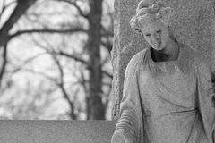 Old Statue Black and White. Photo Of An Old Statue Black and White Royalty Free Stock Photo