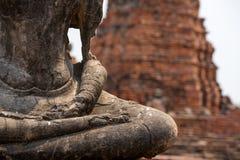 Old statue of buddha mediating, Ayutthaya stock photos