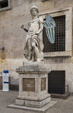 Old statue of Michael the Archangel in yard of Castle of Holy An Royalty Free Stock Photography
