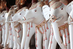 Old statues of elephants, Maha Bodhi Ta Htaung monastery, Myanmar. Rows of old stone statues of elephants, Maha Bodhi Ta Htaung monastery, famous Bodhi Tataung royalty free stock images