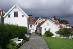Old Stavanger. Street with white houses in the old part of Stavanger Royalty Free Stock Photos