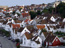 Old Stavanger. White houses in the old part of Stavanger Royalty Free Stock Photos