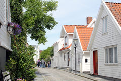 Old Stavanger - Street View 1. A street with wooden houses in Stavanger - Norway Royalty Free Stock Photos