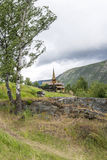 Old stave church in Lom Royalty Free Stock Image