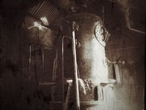 Old fashioned steam-boiler stock photo