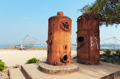 Old Steam Boilers of the cranes. In Fort Kochi Beach. Kerala. India Stock Photos