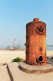 Old Steam Boilers of the cranes. In Fort Kochi Beach. Kerala. India Royalty Free Stock Image
