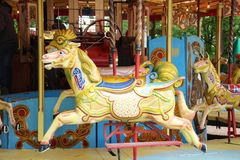 Old steam driven fairground attraction. Liphook, UK - 13 May, 2018: Old steam driven fairground attraction at the Hollycombe Steam Fair. One of several restored Stock Image