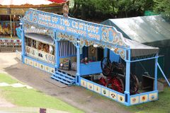 Old steam driven fairground attraction. Liphook, UK - 13 May, 2018: Old steam driven fairground attraction at the Hollycombe Steam Fair. One of several restored Stock Photo