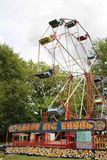 Old steam driven fairground attraction. Liphook, UK - 13 May, 2018: Old steam driven fairground attraction at the Hollycombe Steam Fair. One of several restored Stock Images