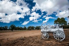 Steam engine at the entrance to an outback sheep and cattle station in Australia stock images