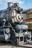 Old steam engine iron train detail close up. View royalty free stock images