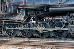 Old steam engine iron train detail close up. View stock photography