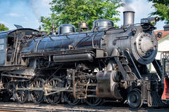 Old steam engine iron train detail close up. View royalty free stock photography