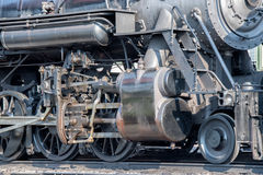 Old steam engine iron train detail close up. View stock images