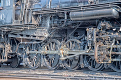 Old steam engine iron train detail close up. View stock photos
