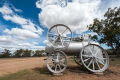 Old steam engine repurposed stock photo