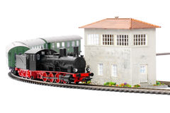Old steam loco with passenger cars Stock Photos