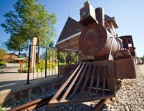 Old steam locomotive. With wooden wagon Royalty Free Stock Photography