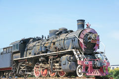 Old steam locomotive. The close-up of old rusty steam locomotive stock image