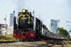Old steam locomotive. BANGKOK, THAILAND - AUGUST 12 : Old steam locomotive Pacific of State Railway Thailand No. 850 and 824. ran to celebrate Mother's Day at Royalty Free Stock Images