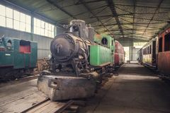 Old Steam Locomotive. Beautiful Old Steam Locomotive Standing in the Depo Stock Images