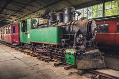 Old Steam Locomotive. Beautiful Old Steam Locomotive Standing in the Depo Stock Photos