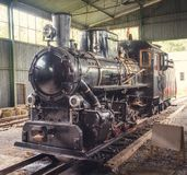 Old Steam Locomotive. Beautiful Old Steam Locomotive Standing in the Depo Stock Photography