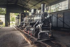 Old Steam Locomotive. Beautiful Old Steam Locomotive Standing in the Depo Royalty Free Stock Images