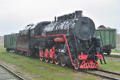 Old steam locomotive. Stock Photo