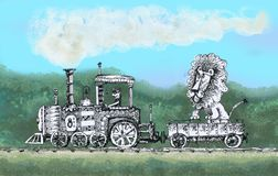 The old steam locomotive carries a lion. A steam locomotive drives an animal for a walk, a lion rides a train, a railway Royalty Free Stock Image