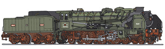 Old steam locomotive. Classic green steam locomotive, vector illustration, hand drawing Royalty Free Illustration
