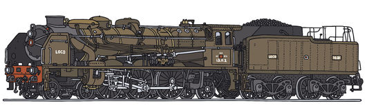 Old steam locomotive. Classic steam locomotive, vector illustration, hand drawing Royalty Free Illustration