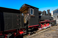 Old steam locomotive in the depot Royalty Free Stock Photo