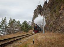 Old steam locomotive. Eastern siberia, Irkutsk region, in the Circum-Baikal Railway Stock Photography