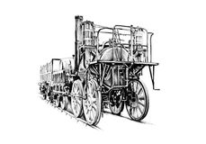 Old steam locomotive engine retro vintage Stock Photo