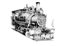 Old steam locomotive engine retro vintage Stock Photos