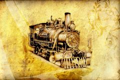 Old steam locomotive engine retro vintage Royalty Free Stock Image