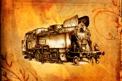 Old steam locomotive engine retro vintage Royalty Free Stock Images