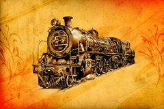 Old steam locomotive engine retro vintage Stock Photography