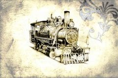 Old steam locomotive engine retro vintage Royalty Free Stock Photos