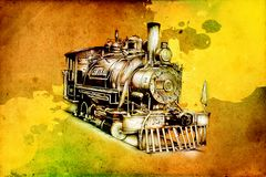 Old steam locomotive engine retro vintage Royalty Free Stock Photo