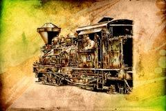 Old steam locomotive engine retro vintage Stock Photo