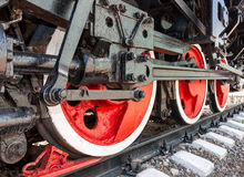 Old steam locomotive engine wheels. And rods details Royalty Free Stock Images